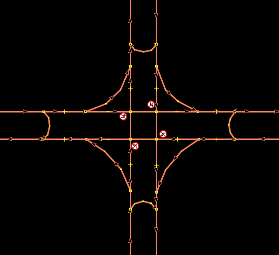 Map of a hypothetical intersection