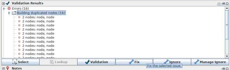 JOSM validator panel