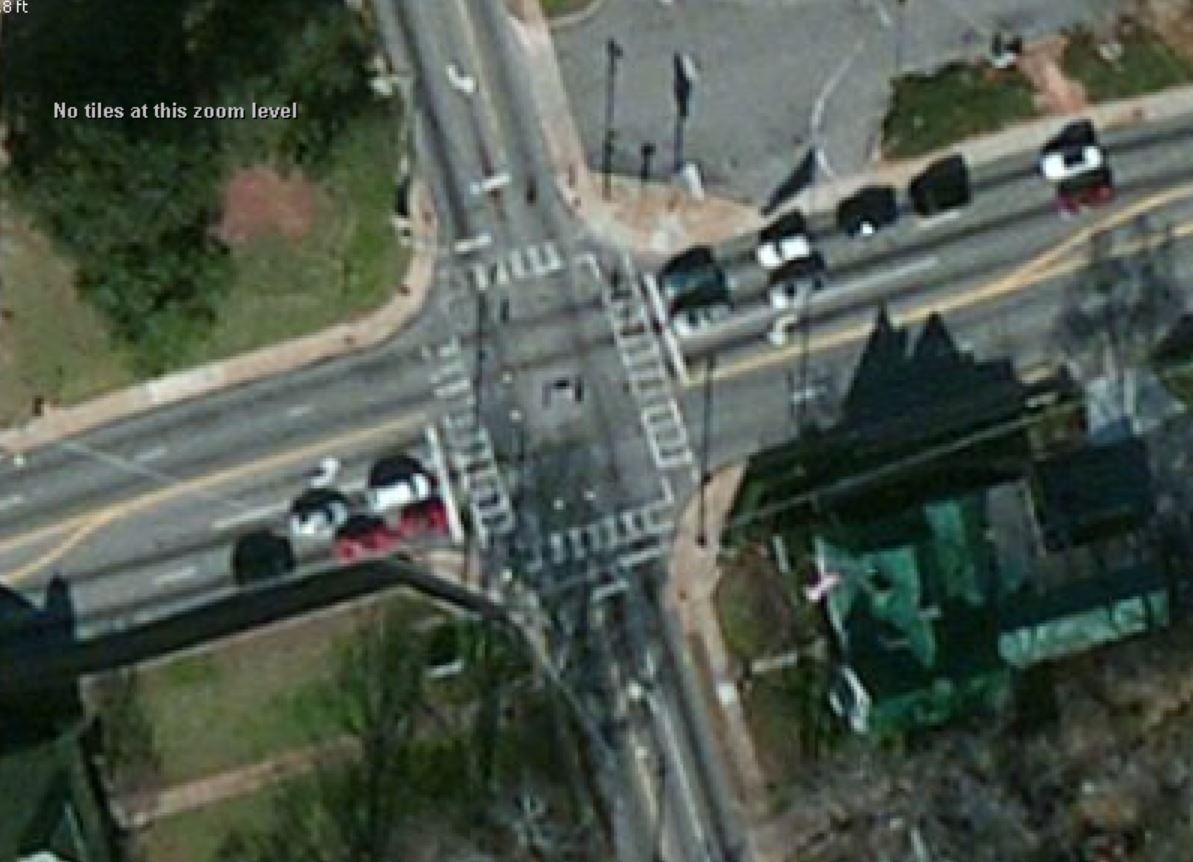 Aerial of an intersection without overlaying OSM data