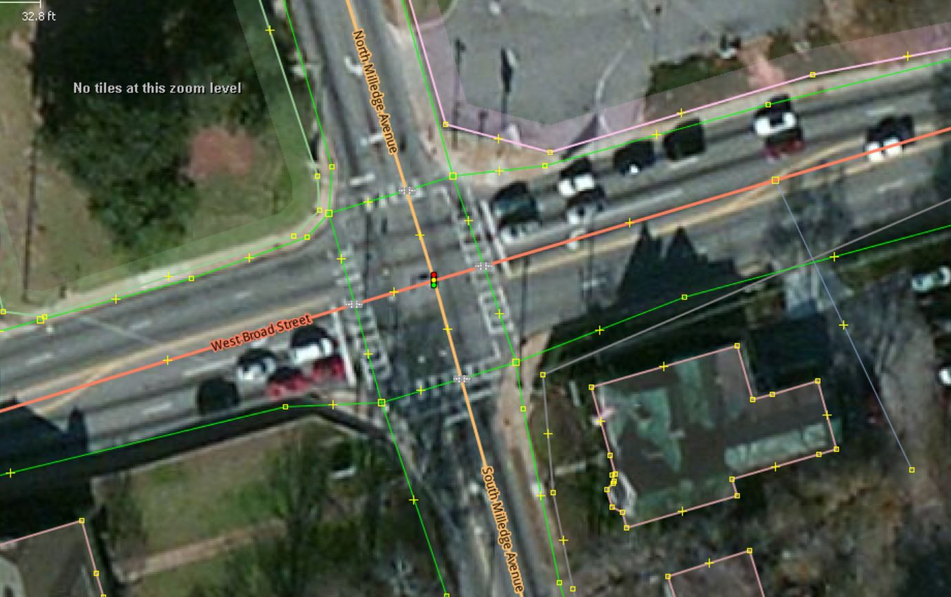 Aerial of intersection with overlaying OSM data