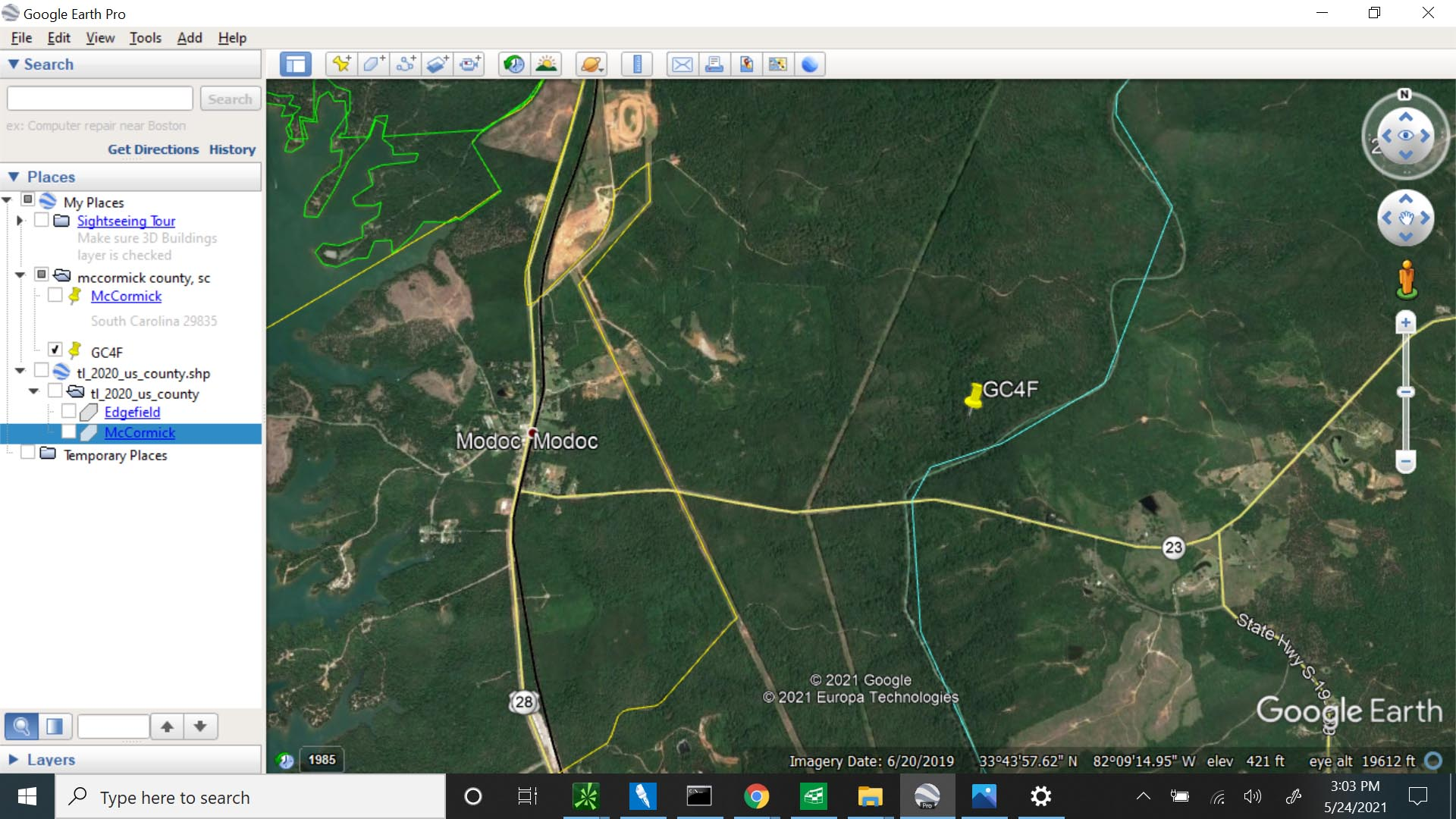 Modoc GeoCache - GC4F - McCormick County