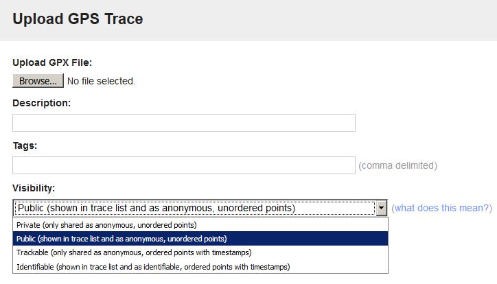 visibility option for uploading GPS trace