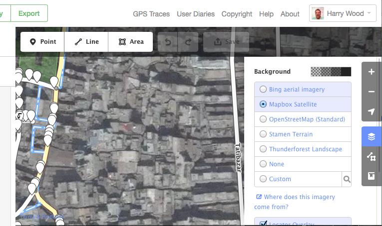 Dhaka id editor showing Mapbox imagery