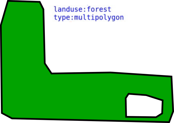 Polygon with a hole, representing a forest