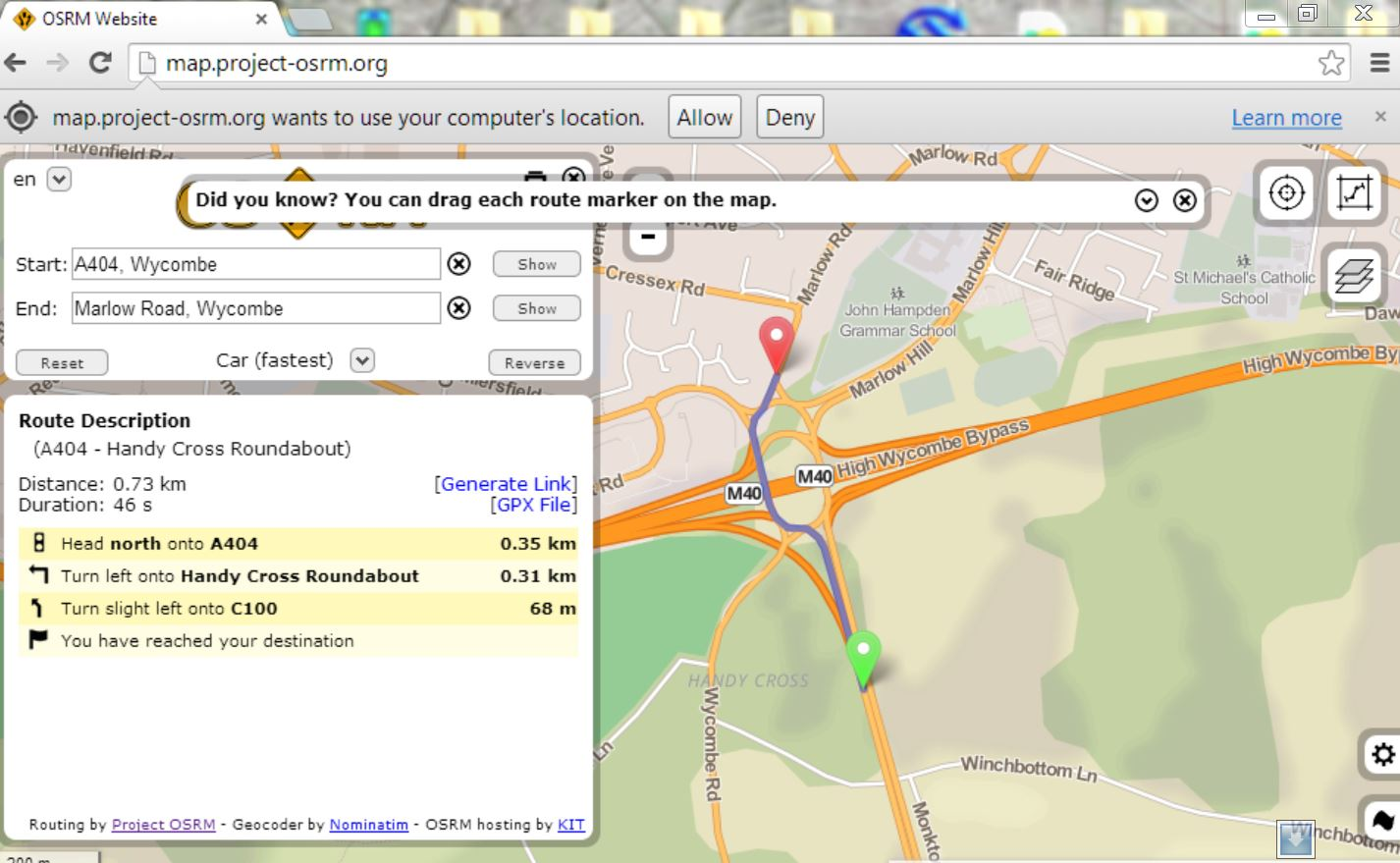 screenshot: OSRM with route